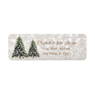 Elegant,Pine Trees ,Glittery Bokeh Return Address Label