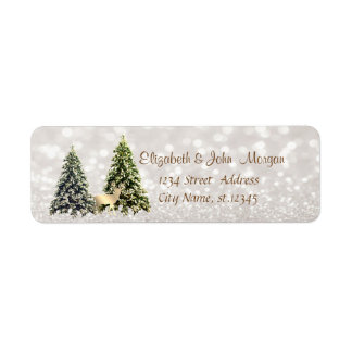 Elegant,Pine Trees ,Gold Deer,Glittery Bokeh Return Address Label