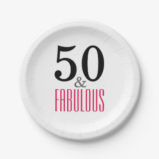 Elegant Pink 50th Birthday Party Paper Plates 7 Inch Paper Plate