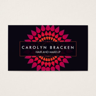 Elegant Pink Abstract Sunflower Business Card