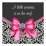 Elegant Pink and Black Damask Baby Shower Custom Announcements