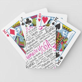 Elegant Pink and Black Yoga Positions Asanas Poker Deck
