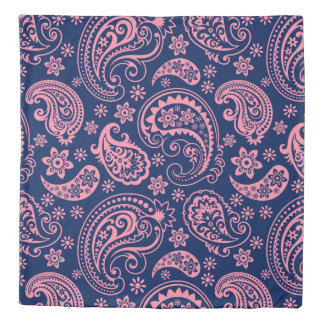 Elegant pink and blue vintage paisley pattern duvet cover