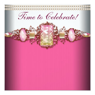 """Elegant Pink and Gold Birthday Party 5.25"""" Square Invitation Card"""
