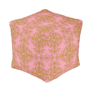 Elegant Pink and Gold Damask Style Pattern Pouf