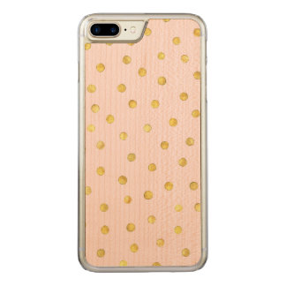 Elegant Pink And Gold Foil Confetti Dots Pattern Carved iPhone 8 Plus/7 Plus Case