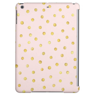 Elegant Pink And Gold Foil Confetti Dots Pattern Case For iPad Air