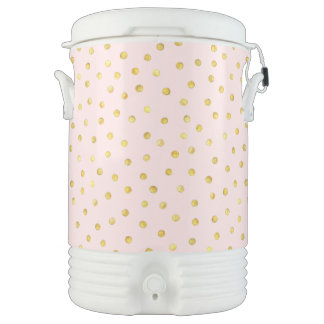 Elegant Pink And Gold Foil Confetti Dots Pattern Drinks Cooler