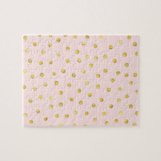 Elegant Pink And Gold Foil Confetti Dots Pattern Jigsaw Puzzle
