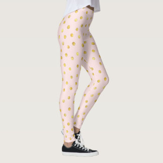 Elegant Pink And Gold Foil Confetti Dots Pattern Leggings