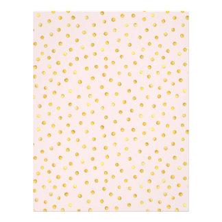 Elegant Pink And Gold Foil Confetti Dots Pattern Letterhead