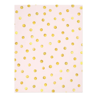 Elegant Pink And Gold Foil Confetti Dots Pattern Letterhead