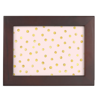 Elegant Pink And Gold Foil Confetti Dots Pattern Memory Box