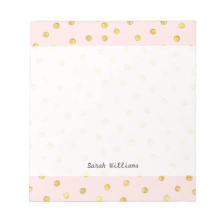 Elegant Pink And Gold Foil Confetti Dots Pattern Notepad