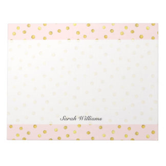 Elegant Pink And Gold Foil Confetti Dots Pattern Notepads