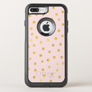 Elegant Pink And Gold Foil Confetti Dots Pattern OtterBox Commuter iPhone 8 Plus/7 Plus Case