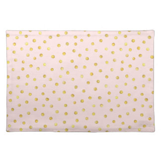 Elegant Pink And Gold Foil Confetti Dots Pattern Placemat