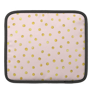 Elegant Pink And Gold Foil Confetti Dots Pattern Sleeves For iPads