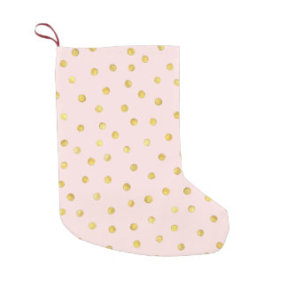 Elegant Pink And Gold Foil Confetti Dots Pattern Small Christmas Stocking