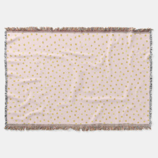 Elegant Pink And Gold Foil Confetti Dots Pattern Throw
