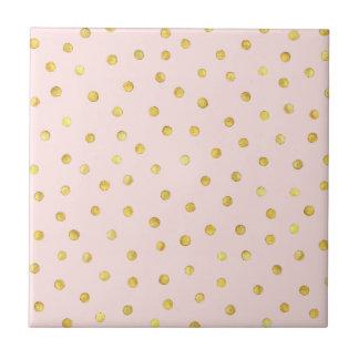 Elegant Pink And Gold Foil Confetti Dots Pattern Tile