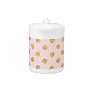 Elegant Pink And Gold Glitter Polka Dots Pattern