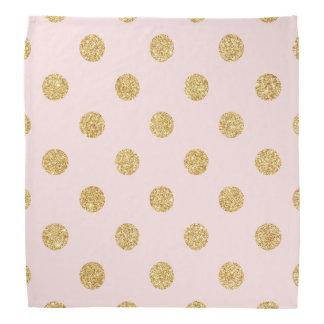 Elegant Pink And Gold Glitter Polka Dots Pattern Bandana