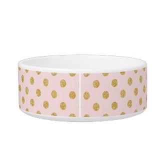 Elegant Pink And Gold Glitter Polka Dots Pattern Bowl