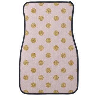 Elegant Pink And Gold Glitter Polka Dots Pattern Car Floor Carpet