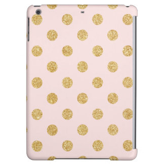 Elegant Pink And Gold Glitter Polka Dots Pattern Cover For iPad Air