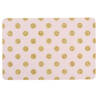 Elegant Pink And Gold Glitter Polka Dots Pattern Floor Mat