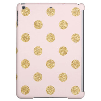 Elegant Pink And Gold Glitter Polka Dots Pattern iPad Air Case