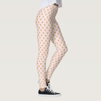 Elegant Pink And Gold Glitter Polka Dots Pattern Leggings