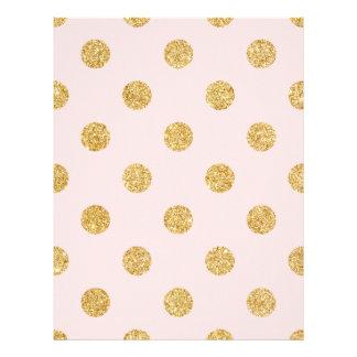 Elegant Pink And Gold Glitter Polka Dots Pattern Letterhead