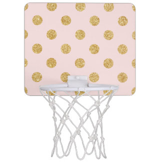 Elegant Pink And Gold Glitter Polka Dots Pattern Mini Basketball Hoop