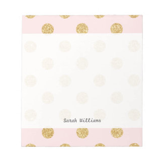 Elegant Pink And Gold Glitter Polka Dots Pattern Notepad