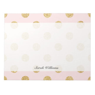 Elegant Pink And Gold Glitter Polka Dots Pattern Notepads