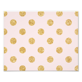 Elegant Pink And Gold Glitter Polka Dots Pattern Photo Print