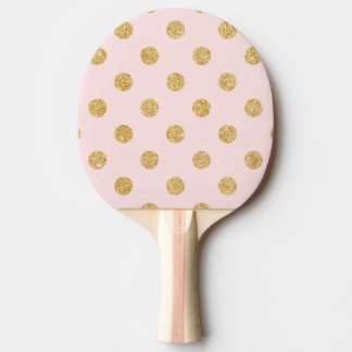 Elegant Pink And Gold Glitter Polka Dots Pattern Ping Pong Paddle