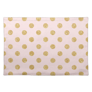 Elegant Pink And Gold Glitter Polka Dots Pattern Placemat