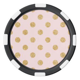 Elegant Pink And Gold Glitter Polka Dots Pattern Poker Chips