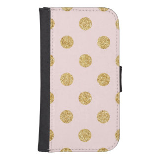 Elegant Pink And Gold Glitter Polka Dots Pattern Samsung S4 Wallet Case