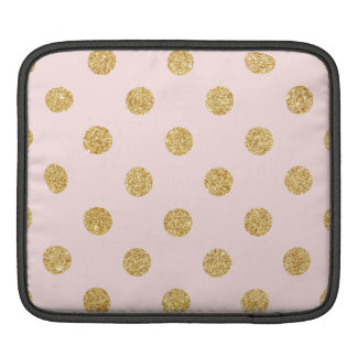Elegant Pink And Gold Glitter Polka Dots Pattern Sleeves For iPads