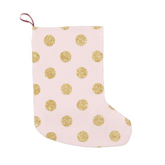 Elegant Pink And Gold Glitter Polka Dots Pattern Small Christmas Stocking