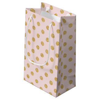 Elegant Pink And Gold Glitter Polka Dots Pattern Small Gift Bag
