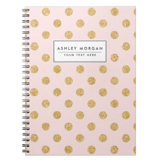Elegant Pink And Gold Glitter Polka Dots Pattern Spiral Notebook