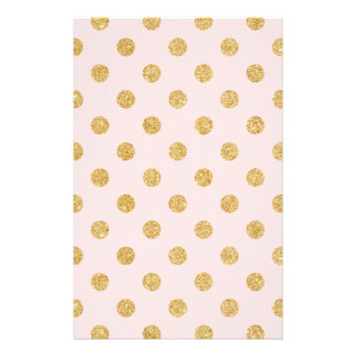Elegant Pink And Gold Glitter Polka Dots Pattern Stationery