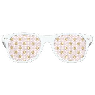 Elegant Pink And Gold Glitter Polka Dots Pattern Sunglasses