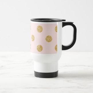 Elegant Pink And Gold Glitter Polka Dots Pattern Travel Mug