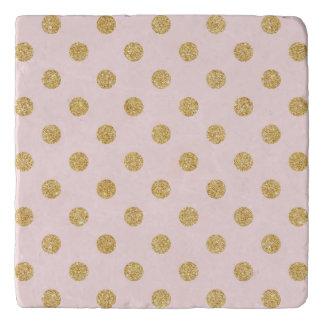 Elegant Pink And Gold Glitter Polka Dots Pattern Trivet